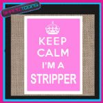 KEEP CALM I'M A STRIPPER JUTE  SHOPPING GIFT BAG